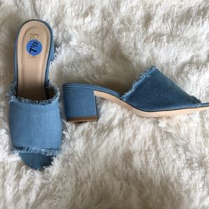 New Denim Fringe Mules Slides Sandals